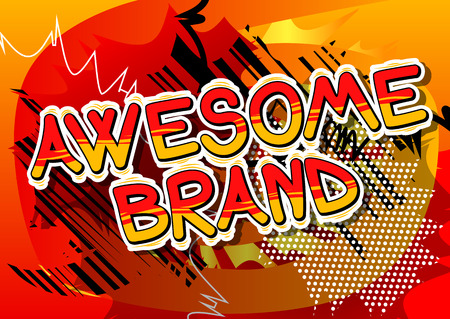 Awesome Brand - Comic book style word on abstract background.