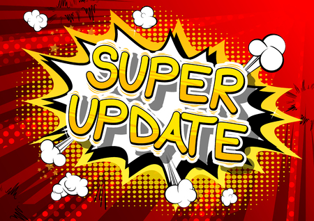 Super Update - Comic book style word on abstract background.