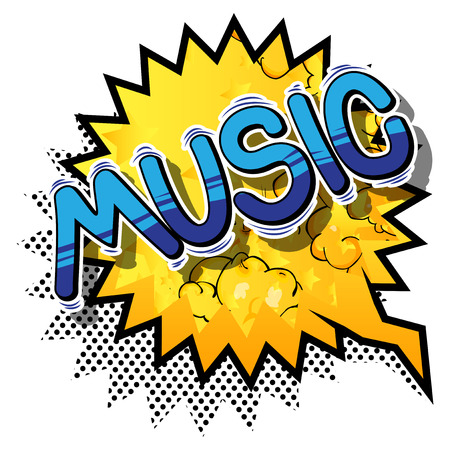 Music - Comic book style word on abstract background.