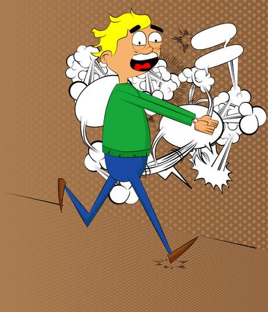 flee: Retro style simple cartoon man is on the run. Vector illustration.