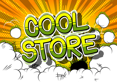 Cool Store - Comic book style word on abstract background. Illustration