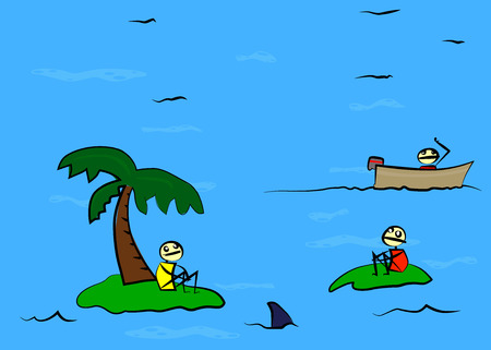 Two shipwrecked person on deserted island found by a third. Illustration