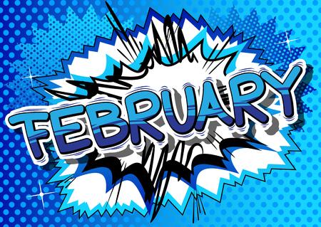 2 月 - コミック スタイル word の抽象的な背景。