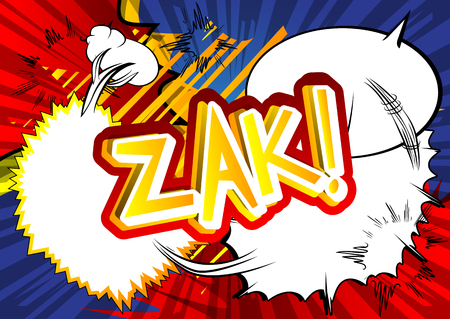 zak: Zak! - Vector illustrated comic book style expression.