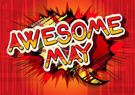 Awesome May - Comic book style word on abstract background. Çizim