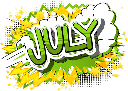 July - Comic book style word on abstract background. Stock fotó - 77328873