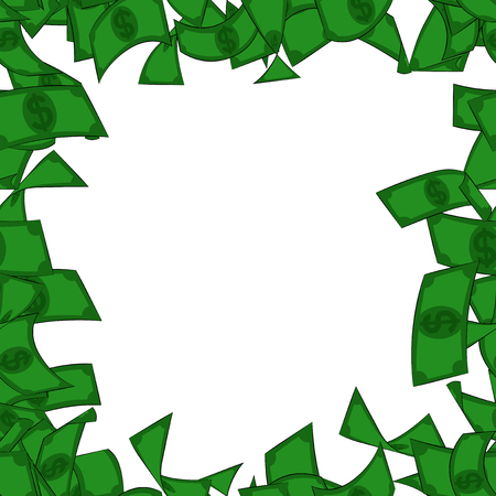 Het vector geïllustreerde kader van het beeldverhaalgeld, met witte achtergrond.