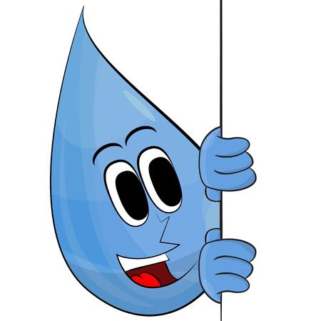 Happy Drop Of Water With Banner. Vector Illustration Retro Cartoon. Illustration