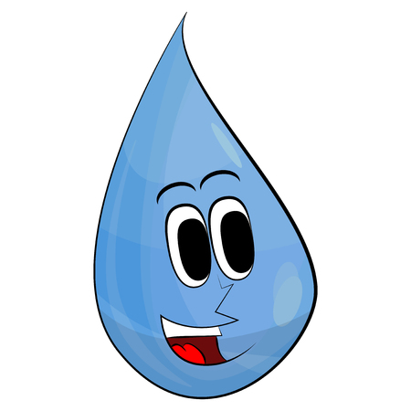 Happy Drop Of Water. Mascot Character. Vector Illustration Retro Cartoon. Isolated On White Background. Illustration