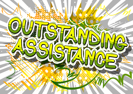 Outstanding Assistance - Comic book style word on abstract background. Иллюстрация