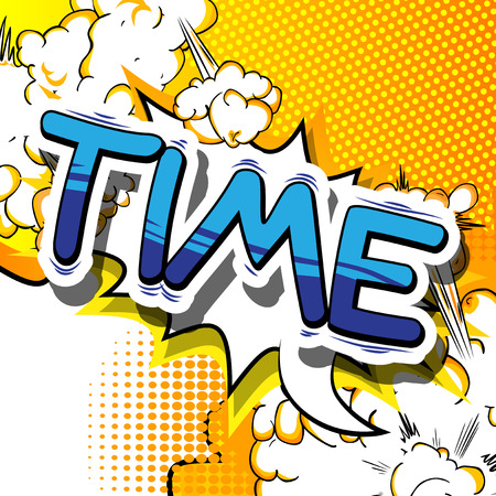 Time - Comic book style word on abstract background. Illustration