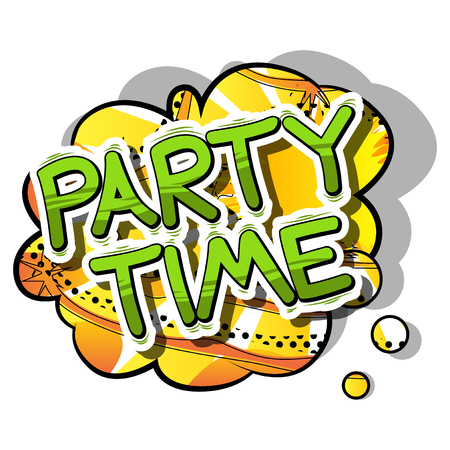 Party Time - Comic book style word on abstract background.
