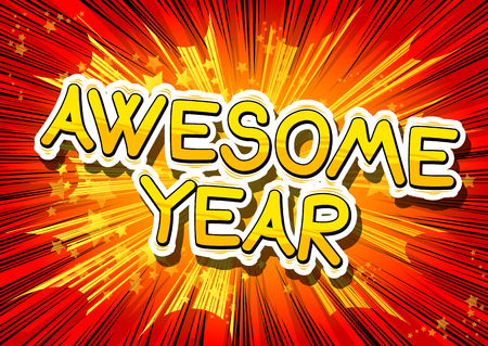 Awesome Year - Comic book style word on abstract background. Illusztráció