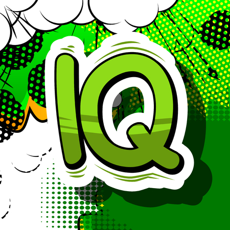 IQ - Comic book style phrase on abstract background.