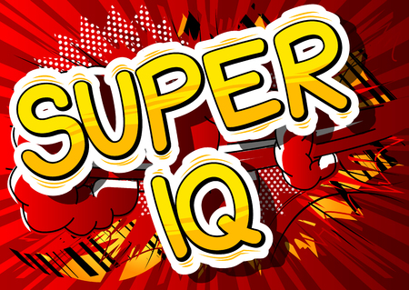 Super IQ - Comic book style phrase on abstract background. Ilustração