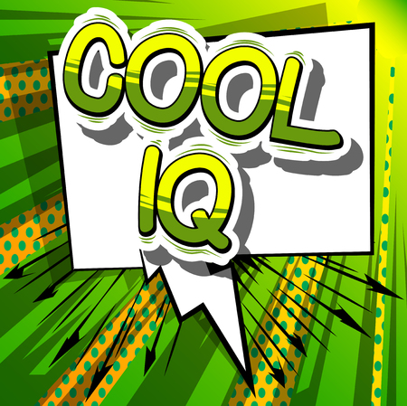Cool IQ - Comic book style phrase on abstract background. Banco de Imagens - 79441831