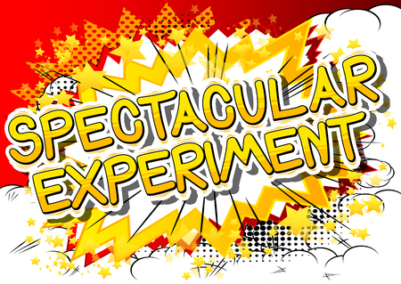Spectacular Experiment - Comic book style phrase on abstract background.