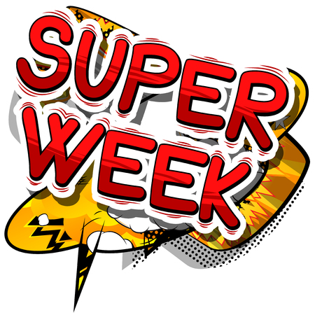 Super Week - Comic book style phrase on abstract background. 向量圖像