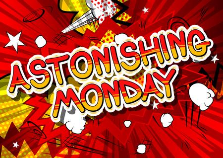 月曜日 - コミック スタイル word の抽象的な背景を驚くほど。