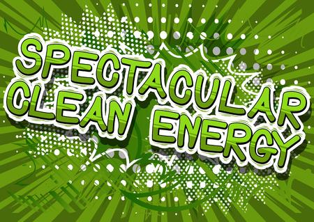 아름 다운 청정 에너지 - 추상적 인 배경에 만화 스타일 단어.