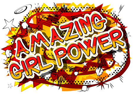 Amazing Girl Power - Comic book style word on abstract background.