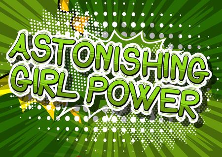 Verbazingwekkende Meisjesmacht - Het grappige woord van de boekstijl op abstracte achtergrond.