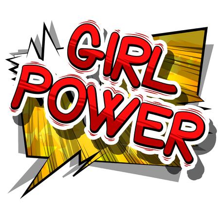 Meisjesmacht - het Grappige woord van de boekstijl op abstracte achtergrond.