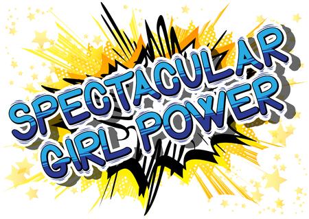 壮大な女の子パワー - コミック スタイル word の抽象的な背景。