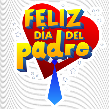 Happy fathers day card with heart and necktie. Spanish version. Vector illustrated banner, greeting card or poster. Иллюстрация