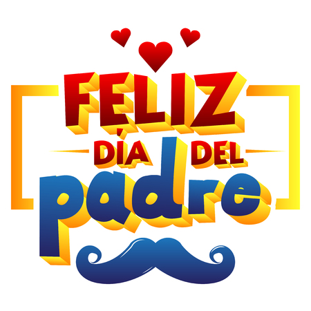 Happy fathers day card with heart and mustache. Spanish version. Vector illustrated banner, greeting card or poster.