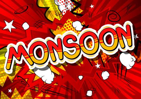 モンスーン - コミック スタイル word の抽象的な背景。