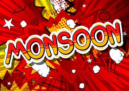 Monsoon - Comic book style word on abstract background. Ilustrace