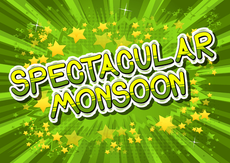 flooding: Spectacular Monsoon - Comic book style word on abstract background.