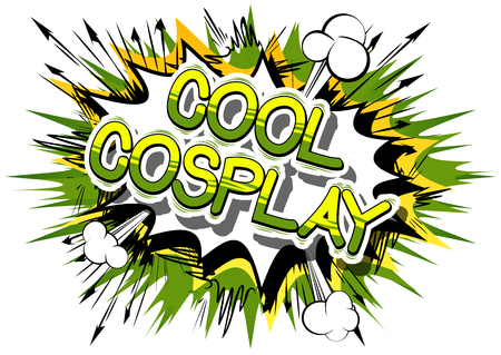 Cool Cosplay - Comic book style word on abstract background. Illustration