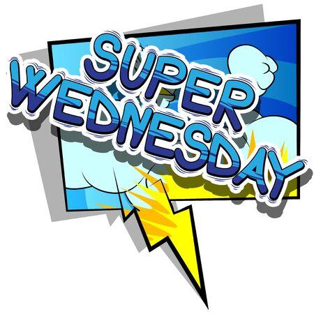 Super Woensdag - Stripboek stijl woord op abstracte achtergrond.