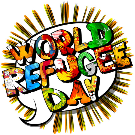 Vector illustrated banner, greeting card or poster for World Refugee Day. Illustration
