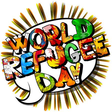 Vector geïllustreerde banner, wenskaart of poster voor World Refugee Day.