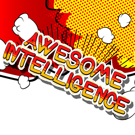Awesome Intelligence - Comic book style word on abstract background. Reklamní fotografie - 80701249