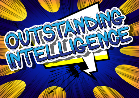 Outstanding Intelligence - Comic book style word on abstract background. Reklamní fotografie - 80701255