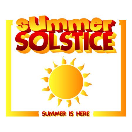 Carte de solstice d'été avec un soleil jaune. Bannière illustrée de vecteur, carte de voeux ou une affiche.