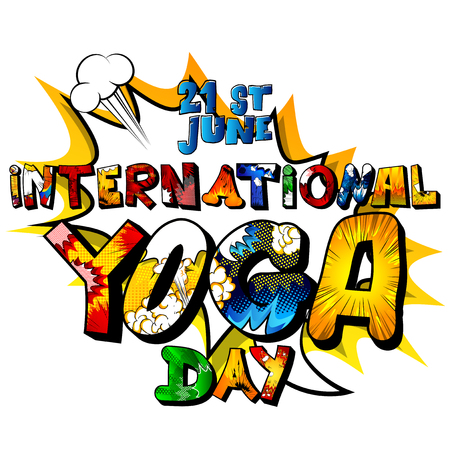 Vector illustrated banner, greeting card or poster for International Yoga Day. Illustration