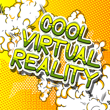 Cool Virtual Reality - Comic book style word on abstract background.