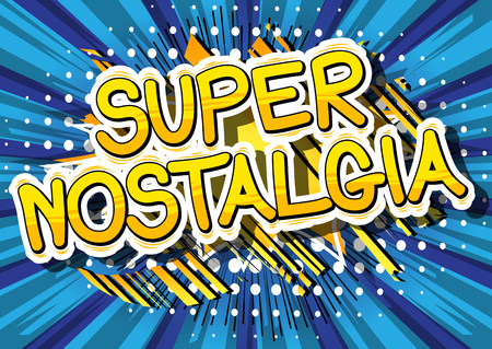 Super Nostalgia - Comic book style word on abstract background. Çizim
