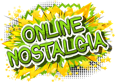 온라인 향수 - 추상적 인 배경에 만화 스타일 단어.