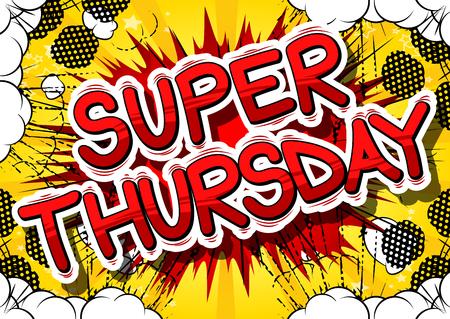 Super Donderdag-Stripboek stijl woord op abstracte achtergrond.