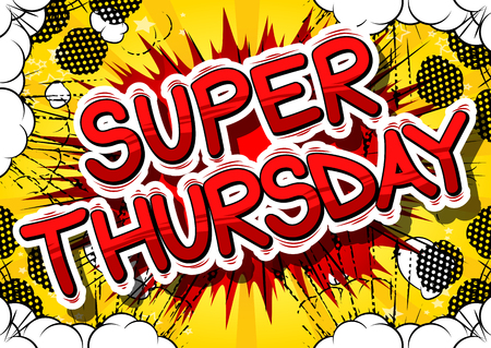 Super Thursday- Comic book style word on abstract background. Çizim