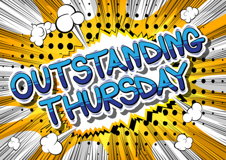 Outstanding Thursday- Comic book style word on abstract background. Çizim