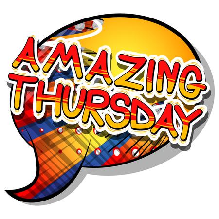 놀라운 목요일 - 추상적 인 배경에 만화 책 스타일 단어.