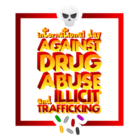 Vector illustrated banner, greeting card or poster for International Day against Drug Abuse and Illicit Trafficking. Illustration
