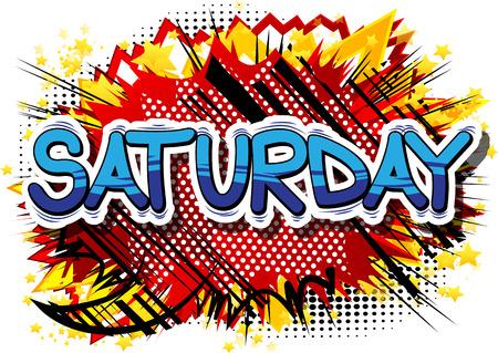Sábado - palabra de estilo cómic en el fondo abstracto.